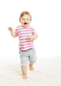 Baby Kid Go One Year Old, Little Child Girl Laughing Open Mouth, Happy Toddler Going over White Background
